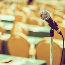 Selective focus point on Microphone in meeting room - vintage effect style pictures